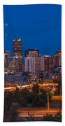 Denver Skyline Fireworks Beach Towel