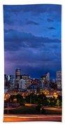 Denver Skyline Beach Towel by John K Sampson