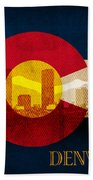 Denver Skyline Silhouette Of Colorado State Flag Canvas Beach Towel