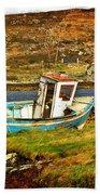 Derelict Fishing Boat On The Irish Coast Beach Towel