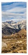 Desert View Of Majestic Mount Whitney Mountain Peaks With Clouds Beach Towel