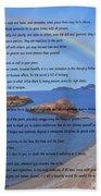Desiderata On Beach Scene With Rainbow Beach Towel