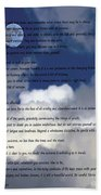 Desiderata On Sky Scene With Full Moon And Clouds Beach Towel