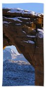 Detail Of Delicate Arch With Snow Arches National Park Utah Beach Towel