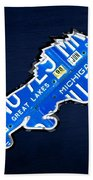 Detroit Lions Football Team Retro Logo License Plate Art Beach Towel