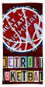 Detroit Pistons Basketball Vintage License Plate Art Beach Towel by Design Turnpike
