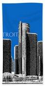 Detroit Skyline 1 - Blue Beach Towel