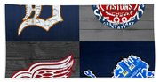 Detroit Sports Fan Recycled Vintage Michigan License Plate Art Tigers Pistons Red Wings Lions Beach Sheet