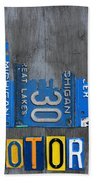 Detroit The Motor City Skyline License Plate Art On Gray Wood Boards  Beach Towel