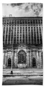Detroit's Abandoned Michigan Central Train Station Depot In Black And White Beach Towel