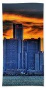 Detroits Sky Beach Towel by Nicholas  Grunas