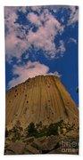 Devils Tower As A Volcano Beach Towel