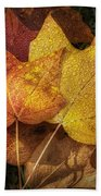 Dew On Autumn Leaves Beach Towel