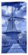 deZwaan Holland Windmill in Delft Blue Beach Towel