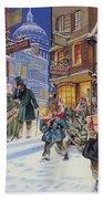 Dickensian Christmas Scene Beach Towel by Angus McBride