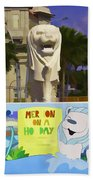 Digital Oil Painting - Statue Of The Merlion With A Banner Beach Towel
