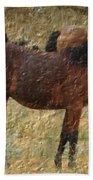 Digital Oil Painting Horses Beach Towel