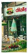 Dilallo Burger Diner Paintings Originalclassic Vintage Burger Joint St Henri St Catherine Cityscene  Beach Towel