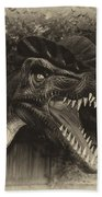 Dino's At The Zoo Come Here Cameraman In Heirloom Finish Beach Towel