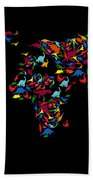 Dinosaurs Map Of The World   Beach Towel by Mark Ashkenazi