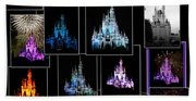 Disney Magic Kingdom Castle Collage Beach Towel