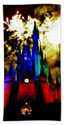 Disney Night Fireworks Beach Towel