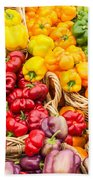 Display Of Fresh Vegetables At The Market Beach Towel