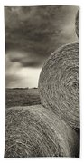 Distant Thunderstorm Approaches Hay Bales E90 Beach Towel