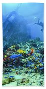 Diver At The Wreck Beach Towel