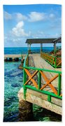 Dock And Tropical Water Beach Towel