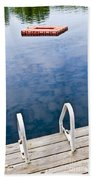 Dock On Calm Lake In Cottage Country Beach Sheet