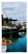 Docked Boats In Newport Ri Beach Towel
