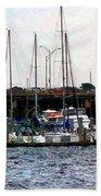 Docked Boats Norfolk Va Beach Towel