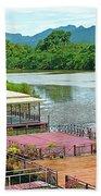 Docking Area On River Kwai In Kanchanaburi-thailand Beach Towel