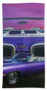 Dodge Rt Double Exposure Purple Sunset Beach Towel