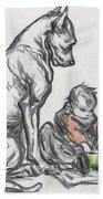 Dog And Child Beach Towel by Robert Noir