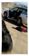 Dog In Front Of A Climbers Car Beach Towel