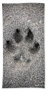 Dog Paw Print In Sand Beach Towel
