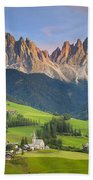 Dolomites From Val Di Funes Beach Towel