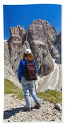 Dolomiti - Hiker In Sella Mount Beach Towel