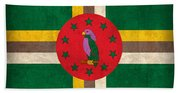 Dominica Flag Vintage Distressed Finish Beach Sheet