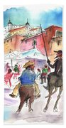 Don Quijote And Sancho Panza Entering Toledo Beach Towel