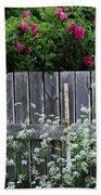 Don't Fence Me In - Wild Roses - Old Fence Beach Towel