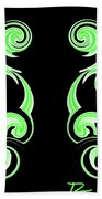 Double Green Swirl Beach Towel
