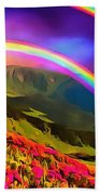 Double Rainbow Beach Towel
