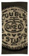 Double Stuff Oreo In Sepia Negitive Beach Towel