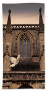 Dove Flying By Church Beach Towel