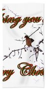 Dove - Snowy Limb - Christmas Card Beach Towel