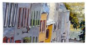 Down The Hill Old Quebec City Beach Towel