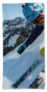 Downhill Skiier In Portillo, Chile Beach Towel